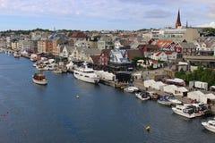 Πανοραμική άποψη της εμπορικής πόλης Haugesund, Νορβηγία στοκ φωτογραφία με δικαίωμα ελεύθερης χρήσης