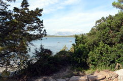 Πανοραμική άποψη της θάλασσας παραλιών και κρυστάλλου της Σαρδηνίας Στοκ φωτογραφία με δικαίωμα ελεύθερης χρήσης