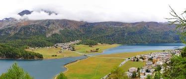 Πανοραμική άποψη της κοιλάδας του ST Moritz στην Ελβετία Στοκ φωτογραφίες με δικαίωμα ελεύθερης χρήσης