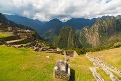 Πανοραμική άποψη της κοιλάδας Urubamba από Machu Picchu, Περού στοκ φωτογραφίες