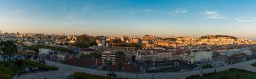 Πανοραμική άποψη της κορυφής της Λισσαβώνας Στοκ Φωτογραφία