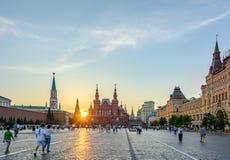 Πανοραμική άποψη της κόκκινης πλατείας, του ιστορικών μουσείου και της ΓΟΜΜΑΣ στοκ φωτογραφίες με δικαίωμα ελεύθερης χρήσης