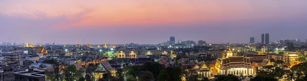 Πανοραμική άποψη της Μπανγκόκ, στην Ταϊλάνδη Έννοια πανοράματος στοκ φωτογραφίες