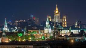 Πανοραμική άποψη της Μόσχας timelapse - οι πύργοι του Κρεμλίνου, δηλώνουν το γενικό κατάστημα, ουρανοξύστης του Στάλιν, κατοικημέ φιλμ μικρού μήκους