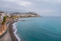 Πανοραμική άποψη της παραλίας Almuñecar στοκ φωτογραφίες