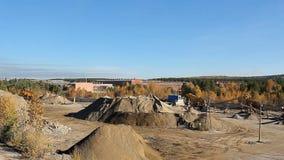 Πανοραμική άποψη της περιοχής κατασκευής με τα μέρη των πετρών απόθεμα βίντεο
