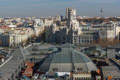 Πανοραμική άποψη της πόλης της Μαδρίτης από Circulo de Bellas Artes, Ισπανία Στοκ Εικόνες