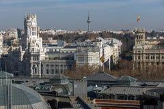 Πανοραμική άποψη της πόλης της Μαδρίτης από Circulo de Bellas Artes, Ισπανία Στοκ φωτογραφία με δικαίωμα ελεύθερης χρήσης