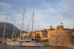 Πανοραμική άποψη της πόλης Korcula, νησί Korcula, Δαλματία, Κροατία στοκ φωτογραφία με δικαίωμα ελεύθερης χρήσης