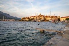 Πανοραμική άποψη της πόλης Korcula, νησί Korcula, Δαλματία, Κροατία στοκ εικόνα