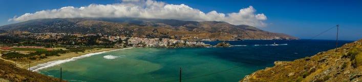 Πανοραμική άποψη της πόλης Άνδρου, Άνδρος, Ελλάδα στοκ φωτογραφίες