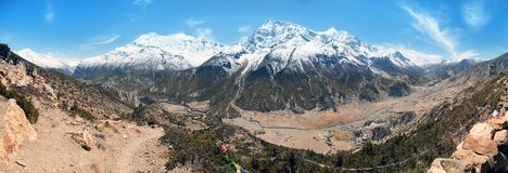 Πανοραμική άποψη της σειράς Annapurna Στοκ φωτογραφίες με δικαίωμα ελεύθερης χρήσης