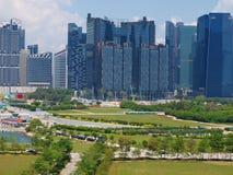 Πανοραμική άποψη της Σιγκαπούρης από το κρουαζιερόπλοιο Σιγκαπούρη στοκ φωτογραφία