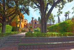 Πανοραμική άποψη του εσωτερικού patio - τρόυ Garden Jardin de Troya στοκ φωτογραφίες με δικαίωμα ελεύθερης χρήσης