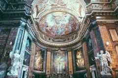 Πανοραμική άποψη του εσωτερικού Sant'Andrea delle Fratte στοκ εικόνες με δικαίωμα ελεύθερης χρήσης
