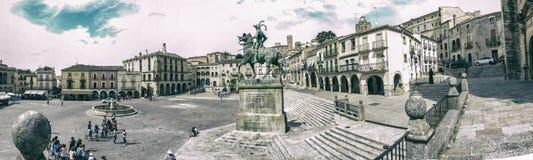 Πανοραμική άποψη του δημάρχου Plaza Trujillo, Ισπανία Στοκ Εικόνες
