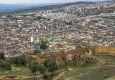Πανοραμική άποψη του κέντρου του Fez Fes, Μαρόκο Στοκ Φωτογραφίες