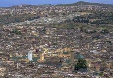 Πανοραμική άποψη του κέντρου του Fez Fes, Μαρόκο Στοκ Εικόνες