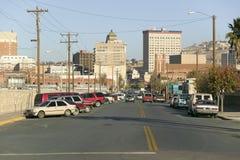 Πανοραμική άποψη του ορίζοντα και του στο κέντρο της πόλης Ελ Πάσο Τέξας, συνοριακή πόλη σε Juarez, Μεξικό Στοκ Εικόνα