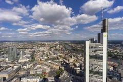 Πανοραμική άποψη του ορίζοντα της Φρανκφούρτης Αμ Μάιν Στοκ φωτογραφία με δικαίωμα ελεύθερης χρήσης