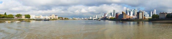 Πανοραμική άποψη του ποταμού του Τάμεση από Greewich στο Λονδίνο, Eng Στοκ Φωτογραφίες