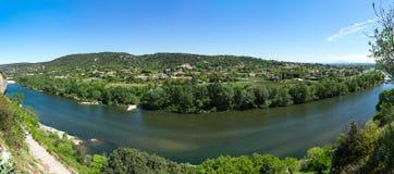 Πανοραμική άποψη του ποταμού Ardeche Στοκ εικόνες με δικαίωμα ελεύθερης χρήσης