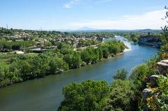 Πανοραμική άποψη του ποταμού Ardeche Στοκ φωτογραφία με δικαίωμα ελεύθερης χρήσης