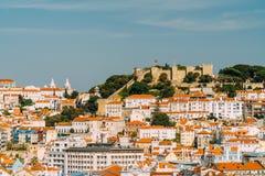 Πανοραμική άποψη του Σάο Jorge Castle στη Λισσαβώνα Στοκ φωτογραφία με δικαίωμα ελεύθερης χρήσης