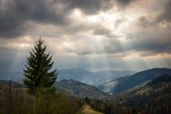 Πανοραμική άποψη του όμορφου τοπίου στα Καρπάθια βουνά Φως μέσω των σύννεφων, φωτισμός σημείων Στοκ φωτογραφία με δικαίωμα ελεύθερης χρήσης