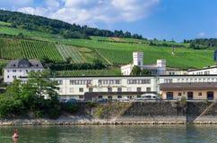 Πανοραμική άποψη του Asbach Confiserie με το κάστρο Rottland, τους αμπελώνες, και τα επιπλέοντα τελεφερίκ στο υπόβαθρο στοκ εικόνες με δικαίωμα ελεύθερης χρήσης