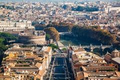 Πανοραμική άποψη του Castle Sant ` Angelo Ιταλία Ρώμη Στοκ εικόνα με δικαίωμα ελεύθερης χρήσης