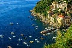 Πανοραμική άποψη του dei Marini, ακτή της Αμάλφης, Ιταλία, Ευρώπη Conca Στοκ Εικόνες