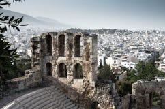 Πανοραμική άποψη των άσπρων περιοχών πόλης κτηρίων, Αθήνα, Ελλάδα στοκ εικόνα