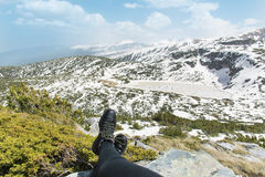 Πανοραμική άποψη των επτά λιμνών Rila στο βουνό Rila, Βουλγαρία Στοκ φωτογραφίες με δικαίωμα ελεύθερης χρήσης