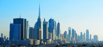 Πανοραμική άποψη των ουρανοξυστών του World Trade Center του Ντουμπάι Στοκ Φωτογραφία