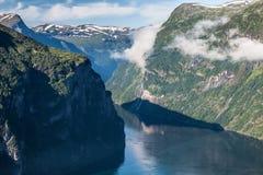 Πανοραμική άποψη φιορδ Geiranger, Νορβηγία Στοκ Εικόνα