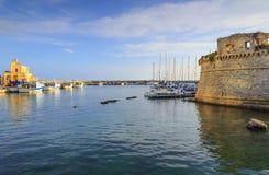 Πανοραμική άποψη angevine-Aragonese Castle Gallipoli, Apulia ΙΤΑΛΙΑ Στοκ εικόνα με δικαίωμα ελεύθερης χρήσης