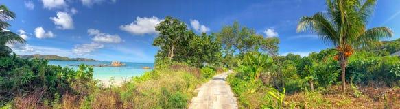 Πανοραμική άποψη Anse Takamaka, Praslin, Σεϋχέλλες Στοκ Εικόνες