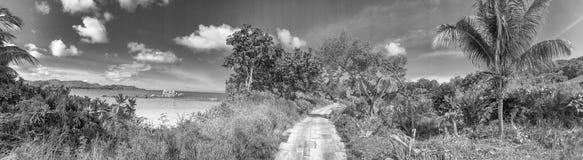 Πανοραμική άποψη Anse Takamaka, Praslin, Σεϋχέλλες Στοκ φωτογραφία με δικαίωμα ελεύθερης χρήσης