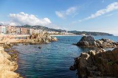 Πανοραμική άποψη Lloret de Mar, Κόστα Μπράβα, Καταλωνία, Ισπανία στοκ εικόνες
