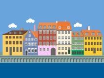 Πανοραμική άποψη Nyhavn, Κοπεγχάγη, Δανία απεικόνιση αποθεμάτων
