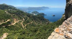 Πανοραμική άποψη Palaiokastritsa από Angelokastro Νησί της Κέρκυρας, ιόνια θάλασσα, Ελλάδα Στοκ Εικόνες