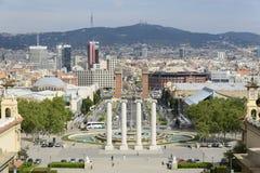 Πανοραμική άποψη Plaza de Espana Βαρκελώνη από το μουσείο των τεχνών Στοκ εικόνα με δικαίωμα ελεύθερης χρήσης