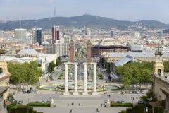 Πανοραμική άποψη Plaza de Espana Βαρκελώνη από το μουσείο των τεχνών Στοκ Εικόνες