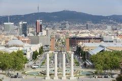 Πανοραμική άποψη Plaza de Espana Βαρκελώνη από το μουσείο των τεχνών Στοκ Εικόνα