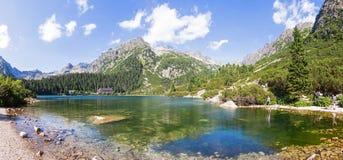 Πανοραμική άποψη Popradske Pleso, βουνά Tatra, Σλοβακία Στοκ φωτογραφίες με δικαίωμα ελεύθερης χρήσης