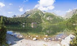 Πανοραμική άποψη Popradske Pleso, βουνά Tatra, Σλοβακία Στοκ Φωτογραφίες