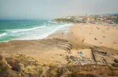 Πανοραμική άποψη Praia DAS Macas sintra της Πορτογαλίας στοκ εικόνα με δικαίωμα ελεύθερης χρήσης