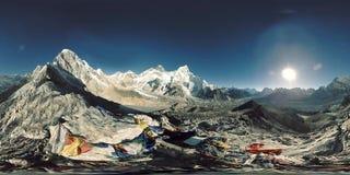 πανοραμική άποψη 360 vr του ηλιοβασιλέματος πέρα από τη Kala Patthar Όρος Έβερεστ και κοιλάδα Khumbu, Νεπάλ των Ιμαλαίων Gorak Sh απόθεμα βίντεο