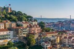 Πανοραμική αργά το απόγευμα άποψη από Miradouro DA Graca στη Λισσαβώνα, Πορτογαλία στοκ φωτογραφία